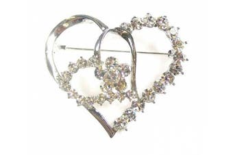 Silver Finish Crystal Diamante Heart Love Bridesmaid Brooch Pin Bag Gift for Women Jewellery