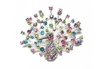 Multi Coloured Crystal Diamante Peacock Bird Brooch Pin Dress Party Gift Jewellery