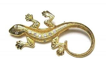Ladies Lizzard Gold Finish Crystal Diamante Brooch Pin Costume Jewellery