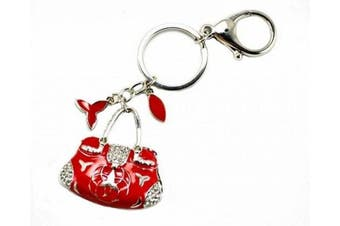 Red Ladies Bag Charm Keyring Ring Chain Costume Fancy Dress Gift Jewellery