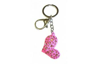 Ladies Diamante Crystal Pink Heart Bag Charm Key Ring Chain Keyring Birthday Gift Jewellery