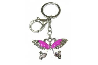 Girls Womens Pink Enamel Crystal Butterfly Silver Key Ring Bag Charm Chain Gift Keyring