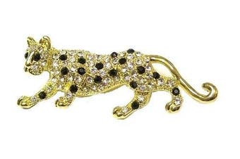 Crystal Diamante Golden Cheetah Tiger Fancy Dress Party Brooch Gift Animal Jewellery