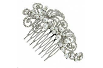 Vintage Pearl and. Crystal Extravaganza Bridal Hair Comb Clip