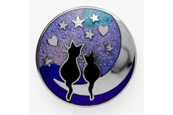 Celtic Lands Black Cats On Moon Enamel Brooch In Gift Box