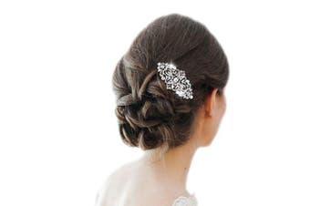 (Clear-Silver-Tone) - Ever Faith Austrian Crystal Art Deco Bridal Hair Comb Clear Silver-Tone N04307-1