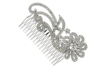 Vintage Nouveau Floral Austrian Crystal Bridal Hair Comb Clip