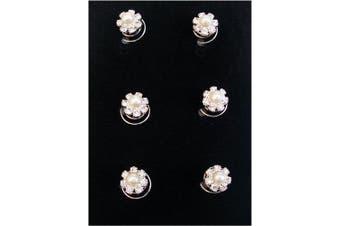 6 x Silver Crystal Flower Pearl Swirl Hair Spring Pins Accessories Jewellery