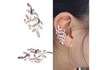 Cute Silver & Crystal Leaf Wrap Around/Clip on Ear Cuff Latest Celeb Trend 2014