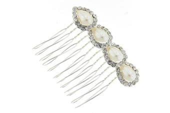 Four Teardrop Austrian Crystal and Pearl Bridal Hair Comb Clip