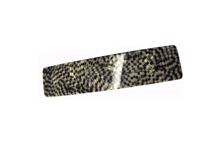 (Opera) - French Amie Oblong Opera Handmade 8.9cm Strong Grip Celluloid Black White Grey Checker Automatic Hair Clip Barrette - (Opera)