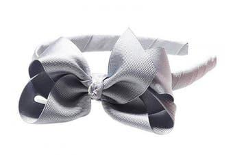 "(Light Gray) - Anna Belen Girls""Lila"" Grosgrain Bow Headband O/S Light Grey"