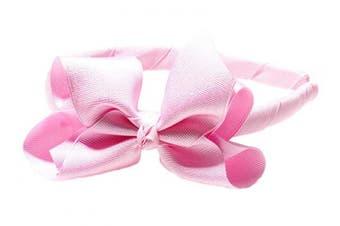 """(Light Pink) - Anna Belen Girls """"Lila"""" Grosgrain Bow Headband O/S Light Pink"""