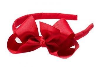 """(Red) - Anna Belen Girls""""Lila"""" Grosgrain Bow Headband O/S Red"""