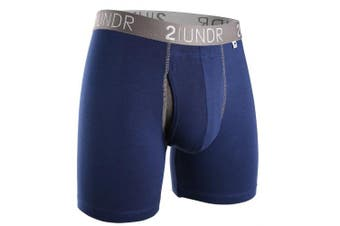 (Large, Navy-Grey) - 2undr Men's Swingshift Boxers