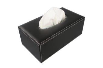 (Black PU) - KINGFOM Rectangular Leather Facial Tissue Box Napkin Holder for Home Office, Car Automotive Decoration (Black PU)