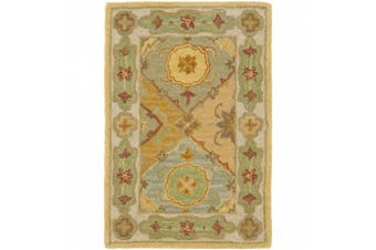 (0.6m x 0.9m, Multi/ Red) - Safavieh Heritage Collection HG512B Handmade Traditional Oriental Multi and Red Wool Area Rug (0.6m x 0.9m)
