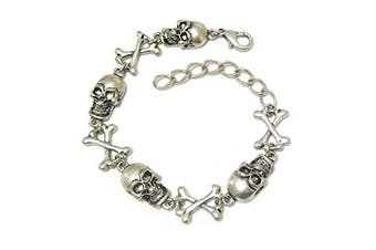 Women Silver Finish Charm Skull Gothic Goth Dress Party Bracelet Bangle Gift Costume Jewellery