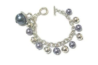 Women Grey Pearl Silver Beads Crystal Diamante Bridesmaid Bridal Bracelet Bangle Gift Fashion Jewellery