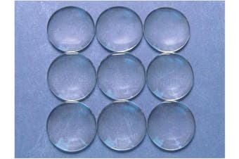 "10 CleverDelights 35mm Round Glass Cabochons - 1 3/8"" Inch - Clear Magnifying Cabs - Dome Pendant Cab - For Cameo Pendants, Photo Jewellery, Rings, Necklaces"