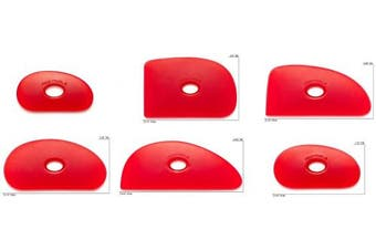 Sherrill Mudtools Polymer Ribs for Pottery and Clay Artists, Set of All 6 Red Colour Shapes, Very Soft