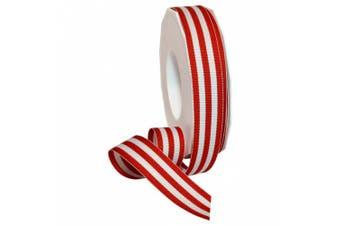 Morex Ribbon Grosgrain Stripes Ribbon, 2.2cm by 20 yd., Red