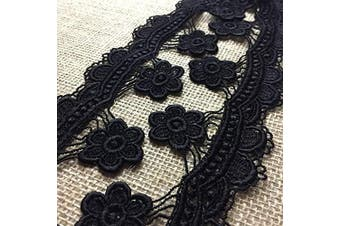 (Black) - Lace Trim Scallops and Hanging Daisy Venise 6.4cm Wide, 2 Yards, Choose Colour. Multi-Use ex: Garments Tops Decoration Crafts Costume Veil Scrapbooks, Black
