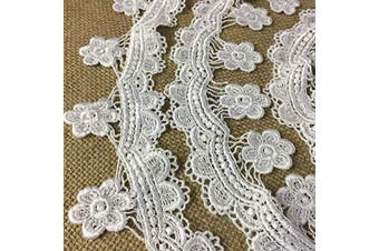 (White) - Lace Trim Scallops and Hanging Daisy Venise 6.4cm Wide, 2 Yards, Choose Colour. Multi-Use ex: Garments Tops Decoration Crafts Costume Veil Scrapbooks, White