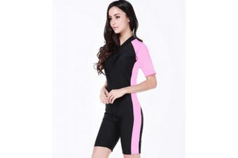 (Small, Lightpink) - Belloo Swimsuit for Women One Piece Short-sleeve surfing suit Sun Protection