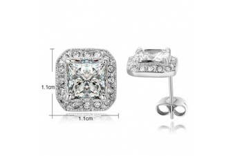 (18ct White Gold Plated Base Metal) - Yoursfs 18K White Gold Plated Simulated Diamond Square Shape Stud Earrings