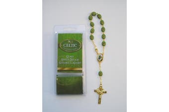 Glass Shamrock - Saint Patrick Single Decade Rosary Beads with Prayer Card.
