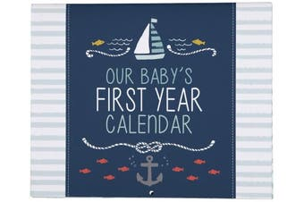 "(Under The Sea) - C.R. Gibson Blue Nautical ""Our Baby's First Year"" Baby Calendar for Newborn Boy Memory Book with Stickers, 28cm L x 46cm H"