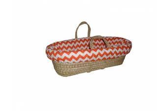 (Orange) - Baby Doll Chevron Moses Basket, Orange