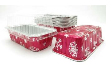 (10) - Disposable Aluminium Holiday 0.9kg. Loaf Pans with Clear Snap on Lid #9401X (10)