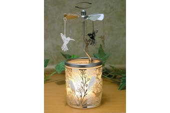 Candle Holder With Birds On Branches And Spinning Humming Birds Scandinavian Style