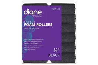 (1.9cm , Black) - Diane Foam Rollers, Black, 1.9cm , 12/bag, Won't hurt your hair, Satin, Hair rollers and curl, Dense foam, Snap closure