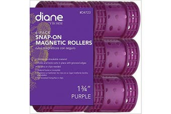 (4.4cm ) - Diane Snap On Magnetic Roller, Purple, 4.4cm , Keeps hair style in place, Holds curls, Non breakable material, For all types of hair, Hair style, Dry or damp hair.