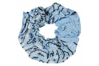 (Sky Blue) - Sky Blue Paisley Scrunchie Elastic Bobble Paisley Sports Hair Scrunchy
