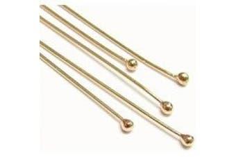 Beadaholique 10-Piece Filled Head Pins, 24-Gauge, 2.5cm , 14K Gold