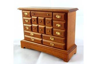 Dolls House Miniature Bedroom Furniture Walnut Wood Trinket Chest of Drawers