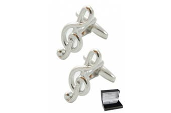 Collar and Cuffs London - Classic Treble Clef Musical Cufflinks - High Quality Solid Brass - Silver Colour - Presentation Gift Box Included - Music