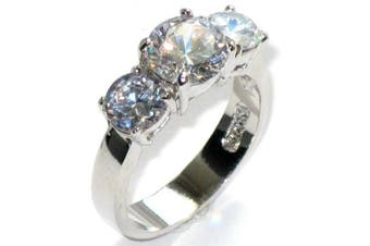 (R) - 4.70ct Simulated Diamonds 3 Stone Anniversary Past - Present - Future Genuine Stainless Steel White Gold Ring. Never Tarnish. Stamped 316L. Outstanding Quality.