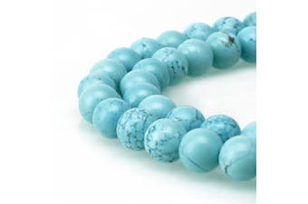 (8mm, Blue Turquoise) - BRCbeads Gorgeous Natural Blue Turquoise Gemstone Round Loose Beads 8mm Approxi 15.5 inch 46pcs 1 Strand per Bag for Jewellery Making