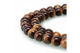 (6mm, Yellow Tiger Eye) - BRCbeads Gorgeous Natural Yellow Tiger Eye Gemstone Round Loose Beads 6mm Approxi 15.5 inch 60pcs 1 Strand per Bag for Jewellery Making