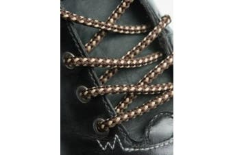 (210cm, Brown Cream Dots) - Big Laces Round Strong Hiking Boot Laces - 110cm to 210cm