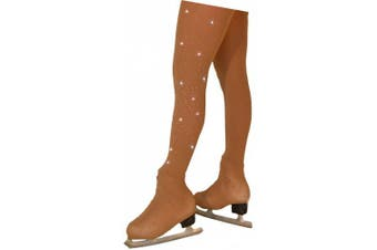 (Child Extra Large/Adult Extra Small (12-14), Tan w/ Crystals) - Chloe Noel Figure Skating Over The Boot Tights TB8832