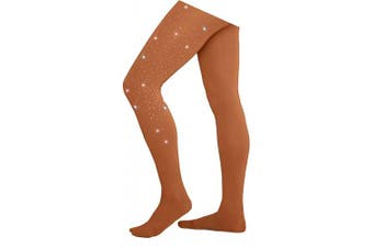 (Child Large (10-12), Light Tan w/ Crystals) - Chloe Noel Figure Skating Footed Tights TF8830