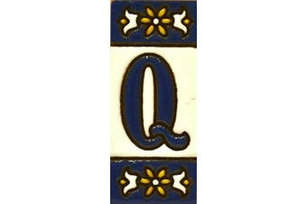 """(LETTER """"Q"""") - Handpainted polichrome ceramic tiles. letters and numbers handpainted using dry rope technique perfect to create signs,addresses and names. Make your own composition. Design AZUL MINI 7.3cm x 3cm (LETTER Q)"""