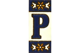 """(LETTER """"P"""") - Handpainted polichrome ceramic tiles. letters and numbers handpainted using dry rope technique perfect to create signs,addresses and names. Make your own composition. Design AZUL MINI 7.3cm x 3cm (LETTER P)"""