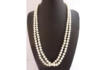 (Ivory) - Long rope necklace simulated pearls look and feel of genuine